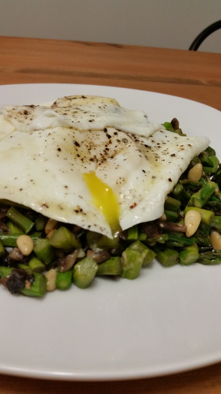 Asparagus and Mushroom Hash with Fried Egg
